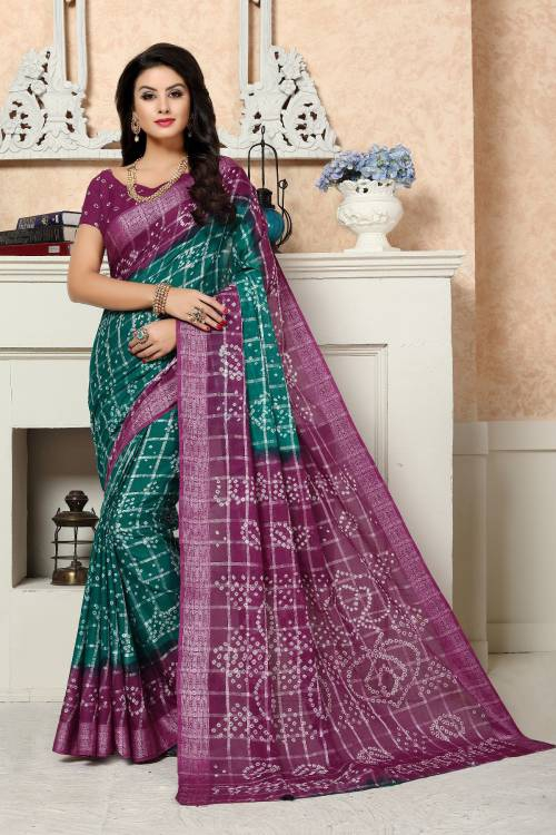 Craftsvilla Multicolor Cotton Silk Designer Saree With Unstitched Blouse Material