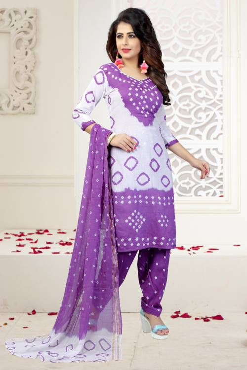 Purple And White Hand Painted Cotton Unstitched Bandhej Straight Suit