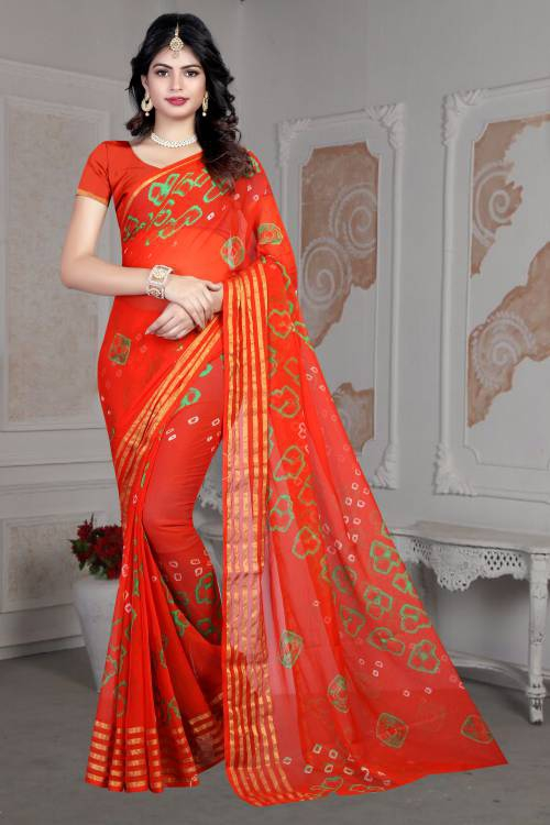 Craftsvilla Orange Color Tussar Silk Hand Painted Traditional Bandhej Saree