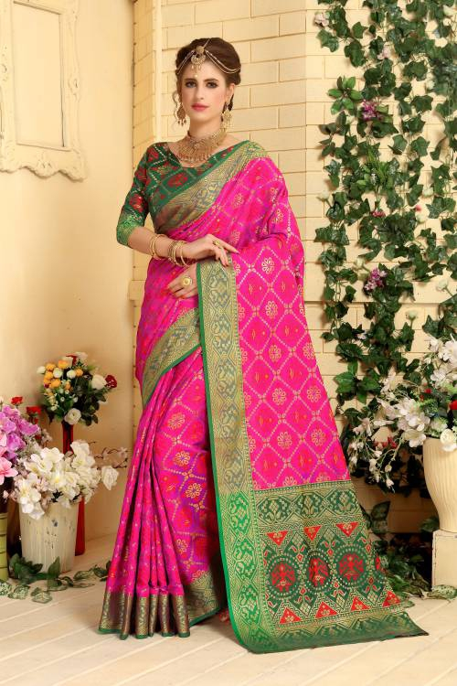 Craftsvilla Magenta Color Cotton Silk Patola Traditional Saree With Unstitched Blouse Material