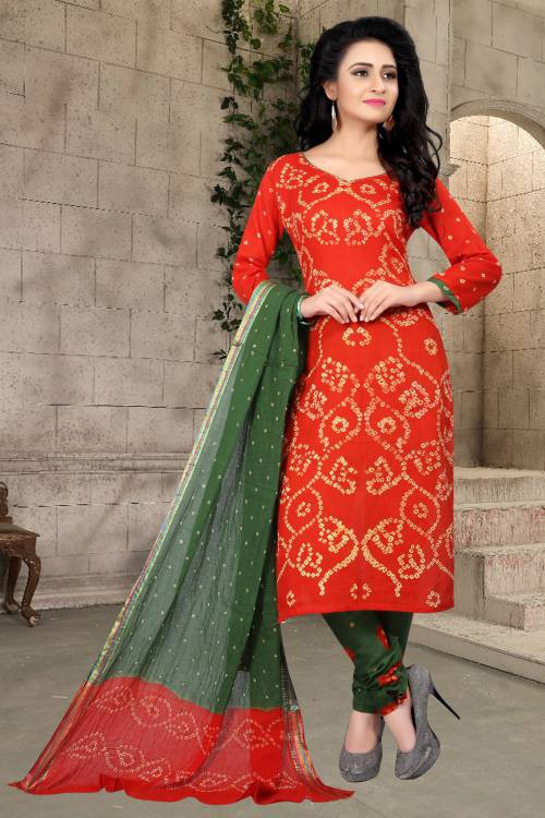Orange Hand Painted Cotton Unstitched Bandhej Straight Suit