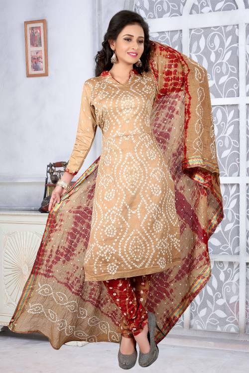 Beige Hand Painted Cotton Unstitched Bandhej Straight Suit