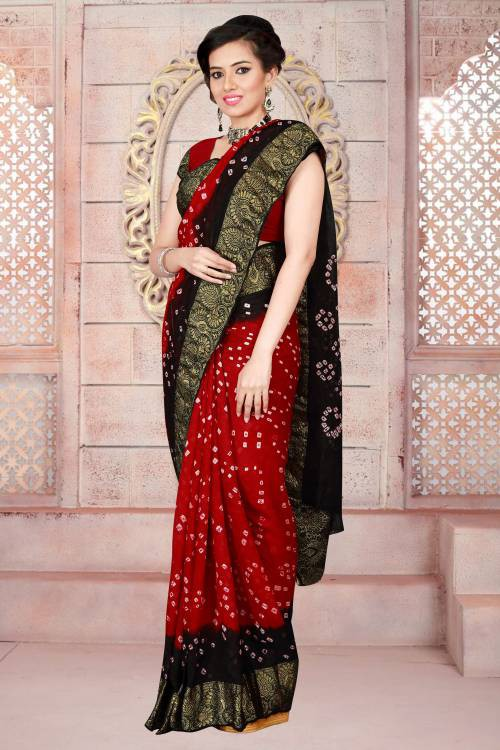 4043949b0a Craftsvilla Red Color Art Silk Hand Painted Traditional Bandhani Saree With Unstitched  Blouse Material