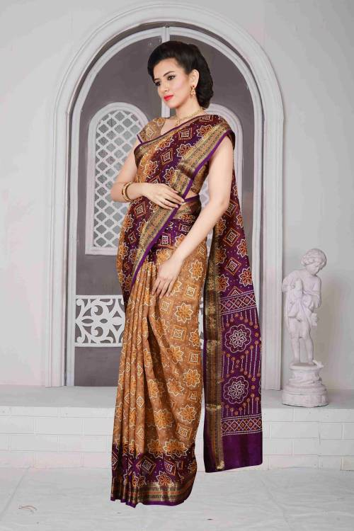 fc3adc4508 Buy Craftsvilla Brown Color Art Silk Hand Painted Traditional Bandhani Saree  With Unstitched Blouse Material Online | Craftsvilla