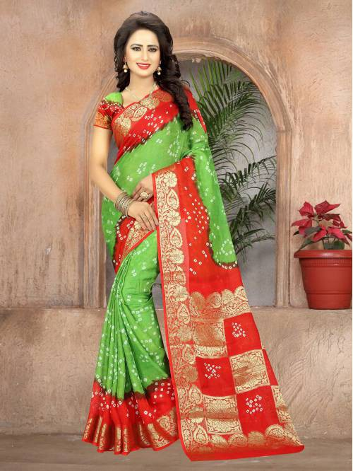 Multicolor Handmade Bandhej Saree With Blouse Piece
