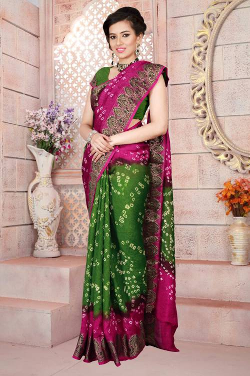 dc0beae316 Buy Craftsvilla Green Color Art Silk Hand Painted Traditional Bandhani Saree  With Unstitched Blouse Material Online | Craftsvilla
