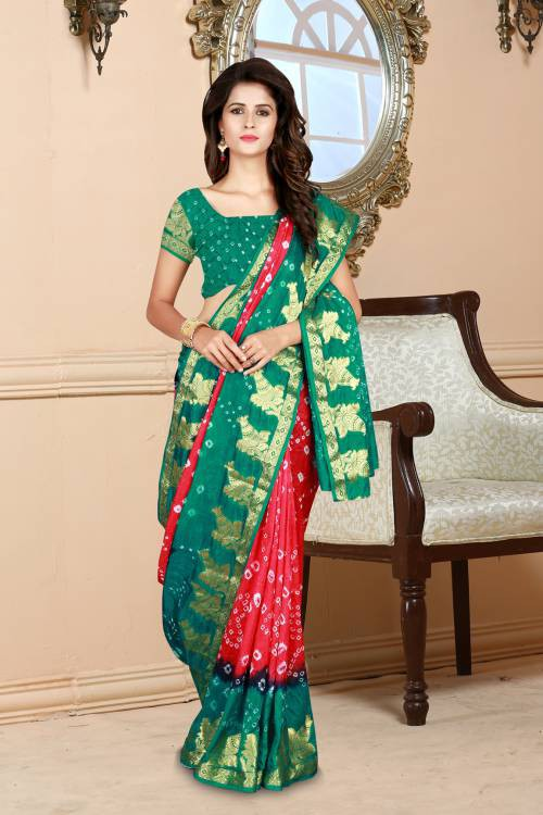 Craftsvilla Red Taffeta Tie Dyed Traditional Bandhej Saree With Unstitched Blouse Material