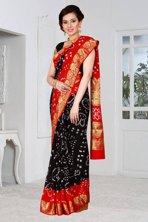 69cfe6fd20 Buy Craftsvilla Black Color Art Silk Hand Painted Traditional Bandhani Saree  With Unstitched Blouse Material Online | Craftsvilla