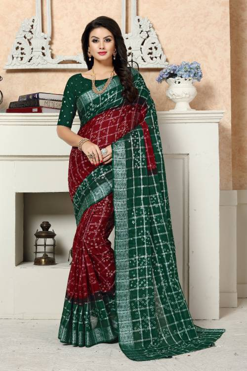 Craftsvilla Maroon Cotton Silk Designer Saree With Unstitched Blouse Material