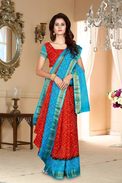 Craftsvilla Red Art Silk Hand Painted Traditional Bandhej Saree With Unstitched Blouse Material