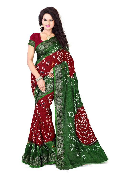 Craftsvilla Multicolor Handmade Bandhej Saree With Blouse Piece
