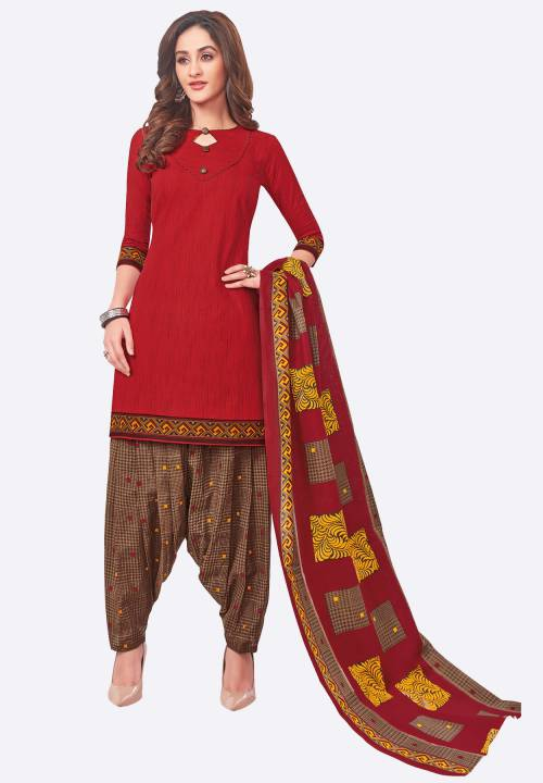Red Cotton Printed  Readymade Straight Suit