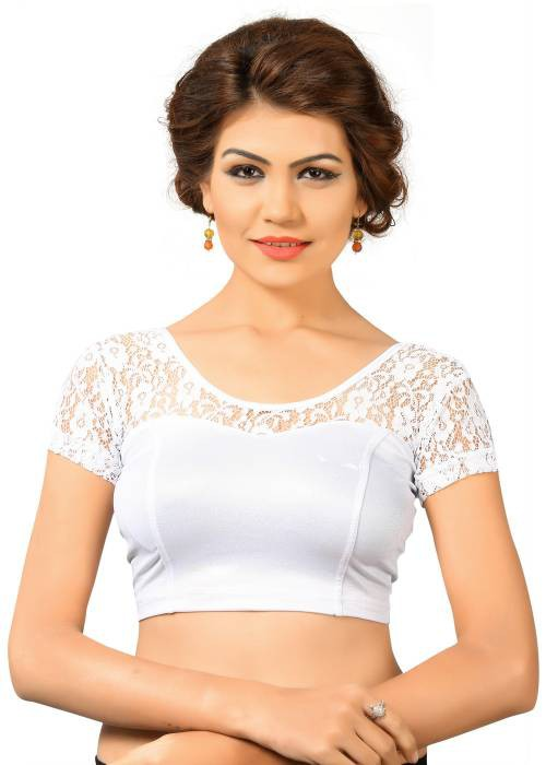 Salwar Studio Silver Shimmer Non-padded Stretchable Readymade Saree Blouse