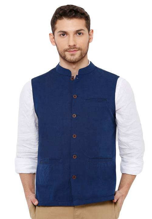 Salwar Studio Mens Cotton Self Weaving Blue Colour Sleeveless Nehru Jackets
