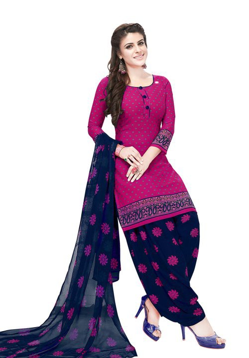 Pink Synthetic Printed Unstitched Salwar Suit