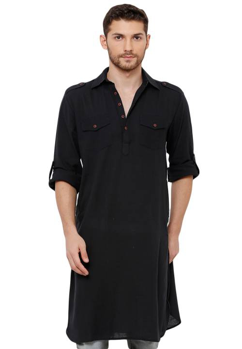 Salwar Studio Mens Cotton Handloom Black Solid Knee Length Pathani Kurta