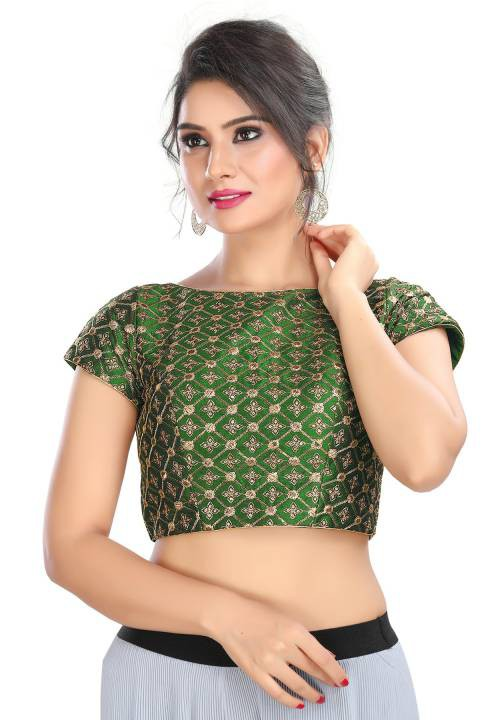 Salwar Studio Bottle Green Cotton Silk Readymade Padded Saree Blouse