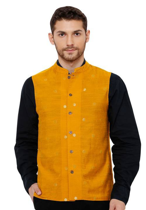 Salwar Studio Mens Cotton Self Weaving Mustard Colour Sleeveless Reversible Nehru Jackets