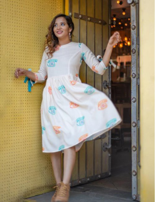 Telephone Print Dress With Ribbons
