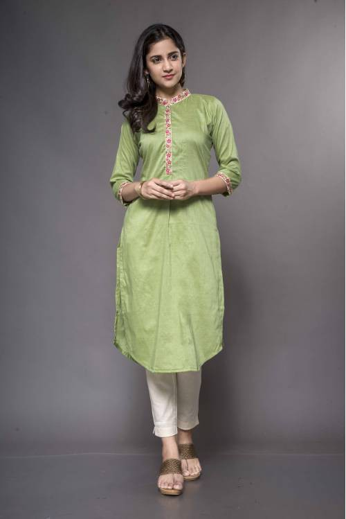 Green Chanderi Plain Straight Kurti