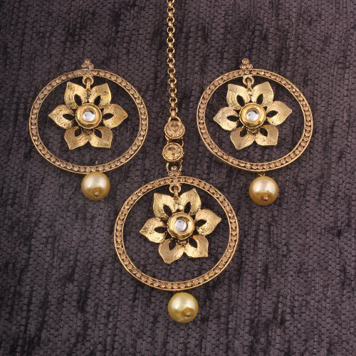 Craftsvilla Gold Alloy Metal Traditional Pearls Earrings With Maang Tikka