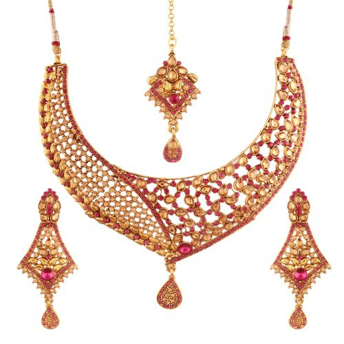 Craftsvilla Hand Crafted Choker Style Gold Plated Necklace Set