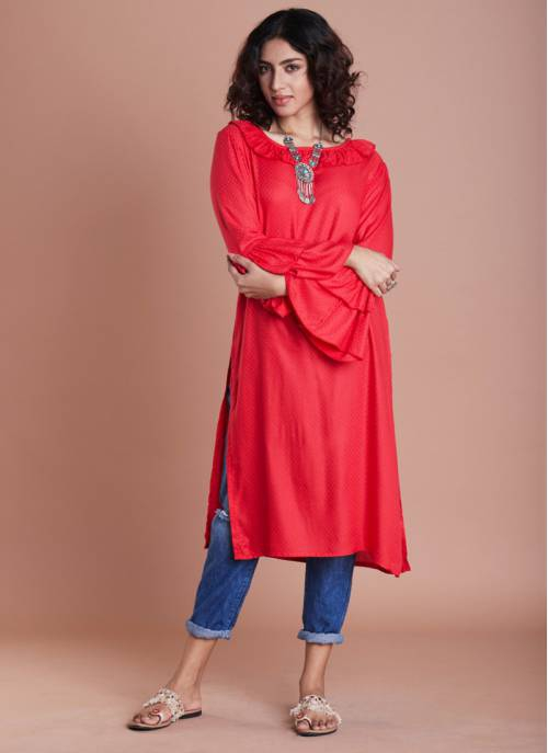 Red Rayon Plain Calf Length Straight Kurti
