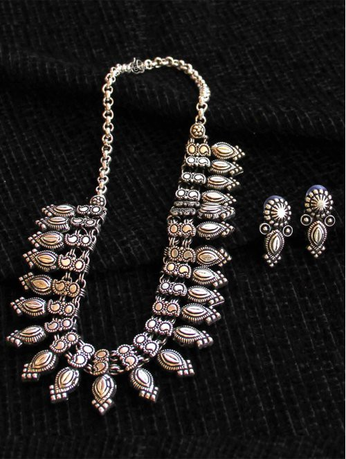 Craftsvilla Silver Plated Alloy Metal Designer Necklace Set