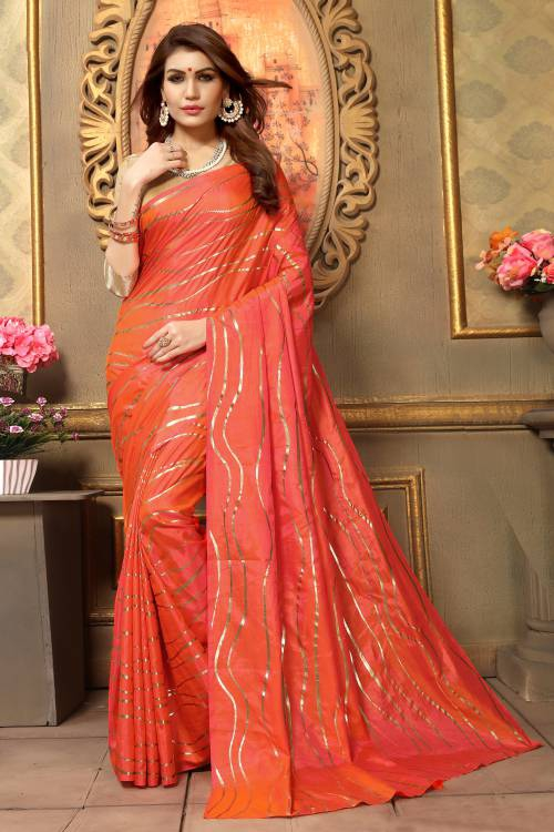 Craftsvilla Peach Art Silk Designer Solid Saree With Unstitched Blouse Piece