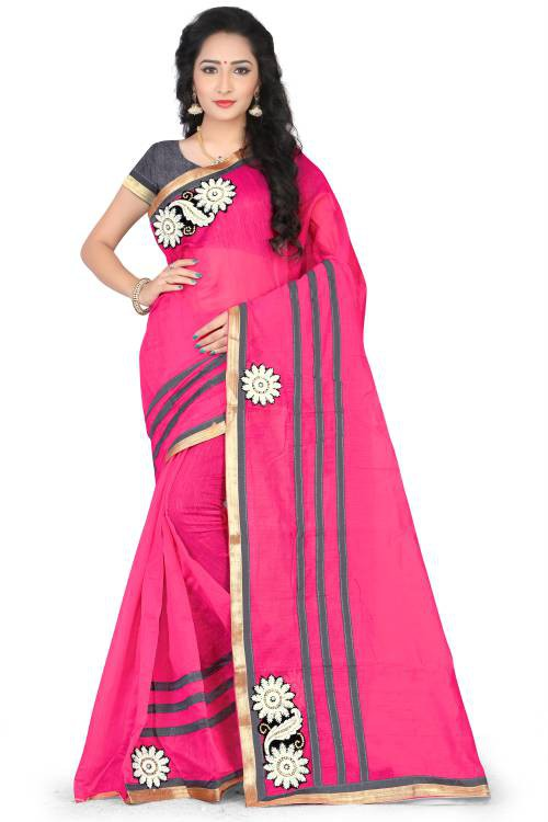 Craftsvilla Pink Color Chanderi Cotton Resham Embroidered Traditional Saree