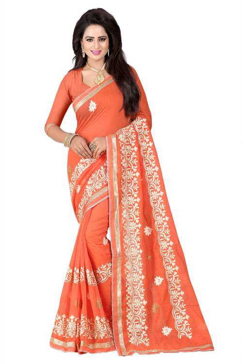 Craftsvilla Orange Color Chanderi Cotton Resham Embroidered Designer Saree