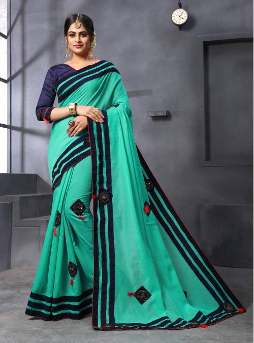 Craftsvilla Teal Green Chanderi Cotton Designer Patch Work Saree