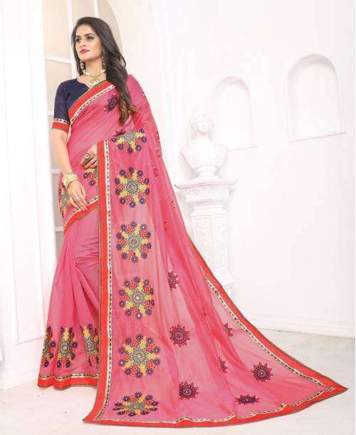 Craftsvilla Pink Chanderi Cotton Designer Saree With Unstitched Blouse Material