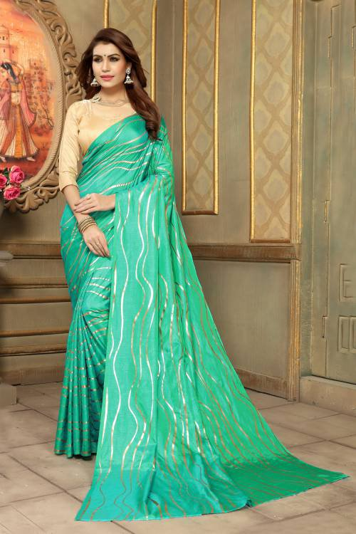 Craftsvilla Turquoise Art Silk Designer Solid Saree With Unstitched Blouse Piece