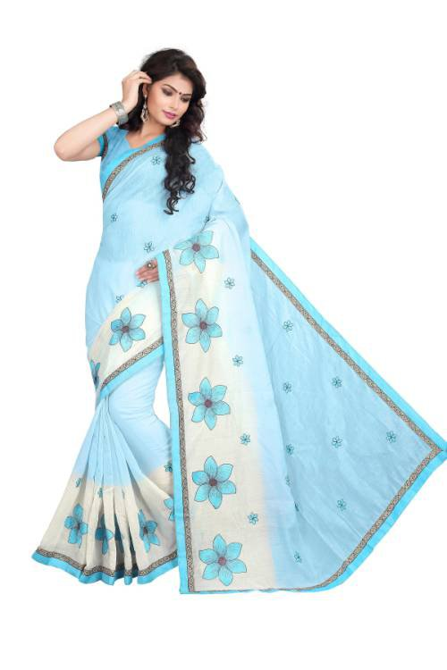 Craftsvilla Sky Blue Color Chanderi Cotton Resham Embroidered Traditional Saree