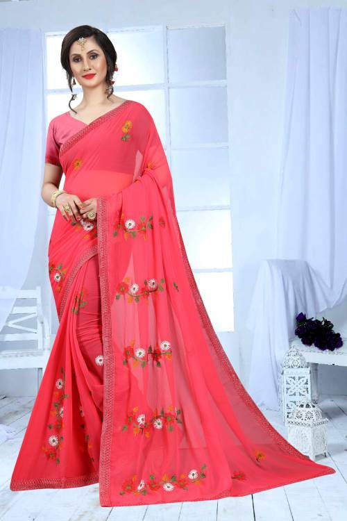 Craftsvilla Red Color Faux Georgette Resham Embroidery Designer Saree