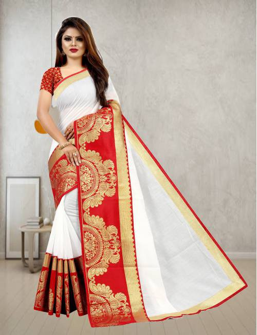 White Chanderi Cotton Designer Woven Saree With Unstitched Blouse Material