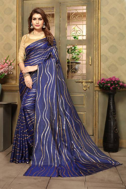 Craftsvilla Navy Art Silk Designer Solid Saree With Unstitched Blouse Piece