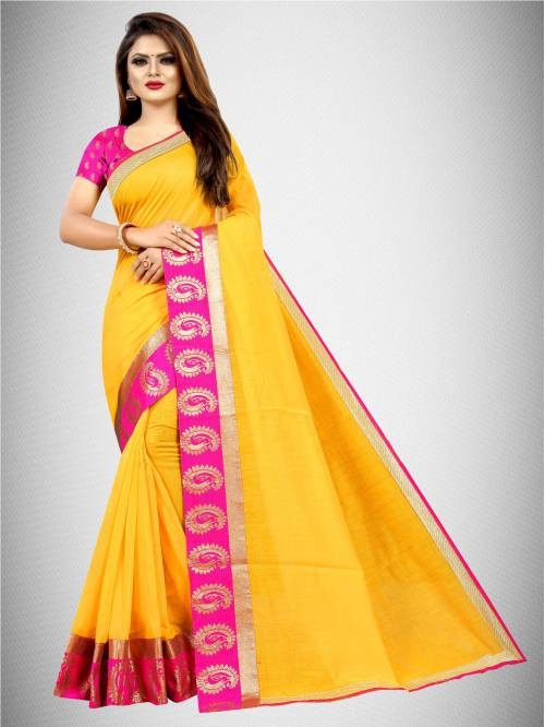 Yellow Chanderi Cotton Lace Work Saree With Blouse Piece