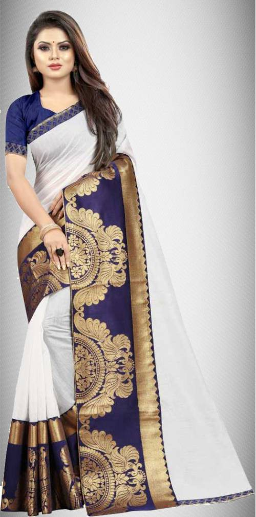 White Chanderi Cotton Lace Work Saree With Blouse Piece