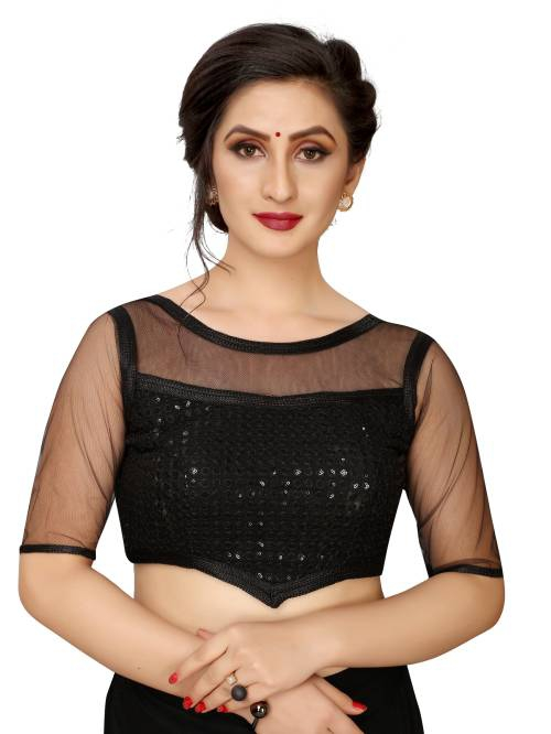 Pari Designer Black Cotton Silk Blouse