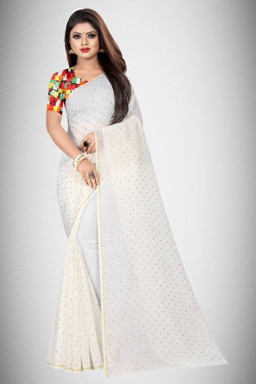 White Chanderi Cotton Embellished Saree With Blouse Piece
