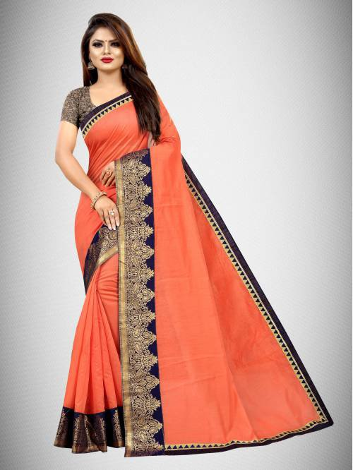 Peach Chanderi Cotton Woven Saree With Blouse Piece