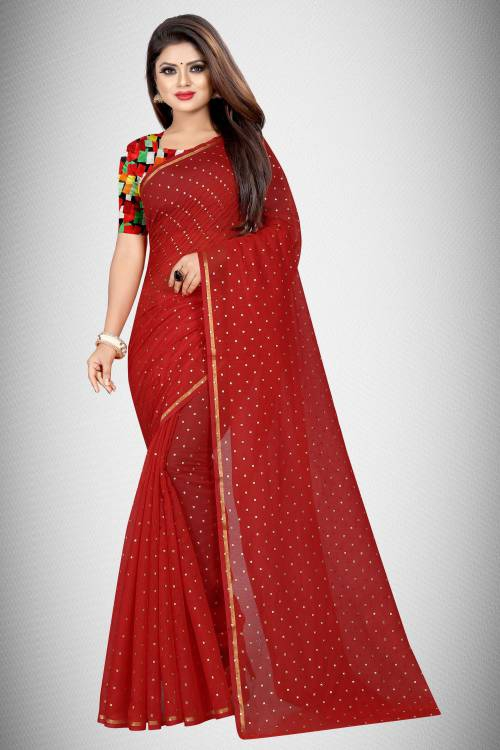 Red Chanderi Cotton Embellished Saree With Blouse Piece