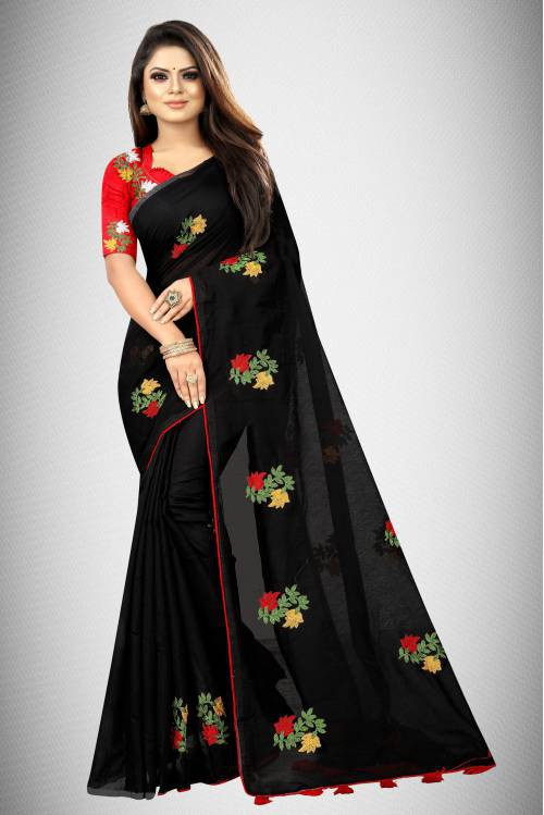 Black Chanderi Cotton Embroidered Saree With Blouse Piece