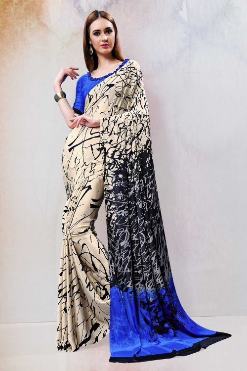 Craftsvilla Beige Crepe Printed Designer Saree With Unstitched Blouse Material