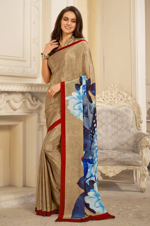 Craftsvilla Beige Crepe Printed Partywear Saree With Unstitched Blouse Material