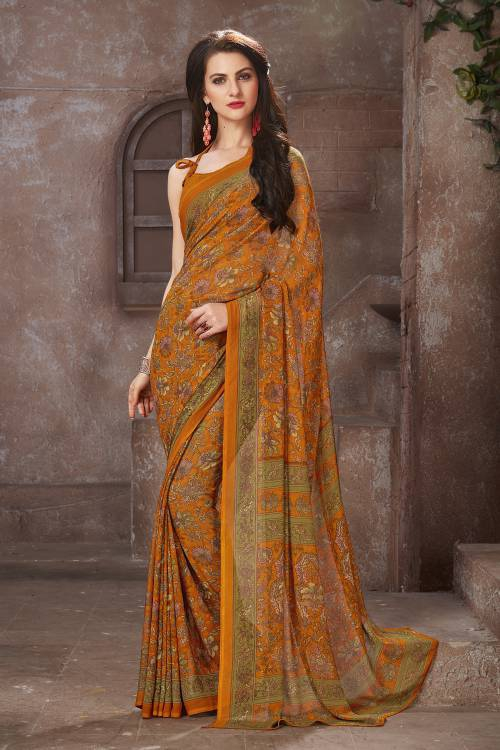 Craftsvilla Mustard Color Georgette Printed Bollywood Saree With Unstitched Blouse Material
