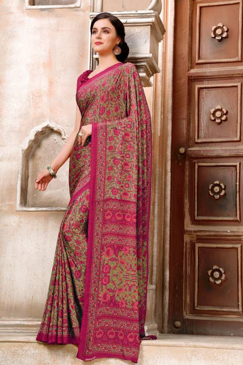Craftsvilla Magenta Crepe Traditional Printed Saree With Unstitched Blouse Piece