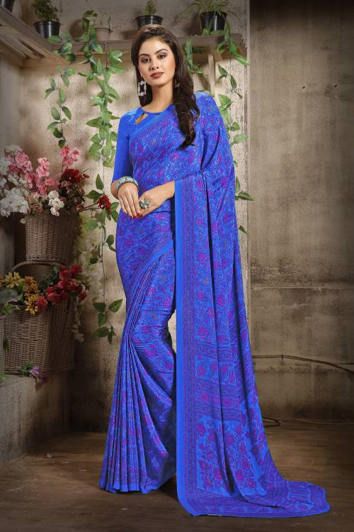 Craftsvilla Blue Color Crepe Printed Bollywood Saree With Unstitched Blouse Material